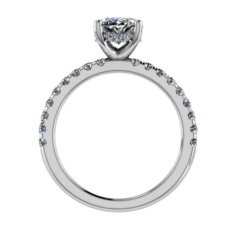 Oval Diamond Cathedral Style Engagement Ring 0.36 cts