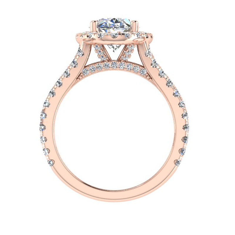 plit Shank Halo Rose gold Engagement Ring-Thenetjeweler
