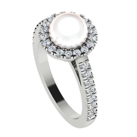 Freshwater Pearl and Halo Diamond White Gold Ring - Thenetjeweler