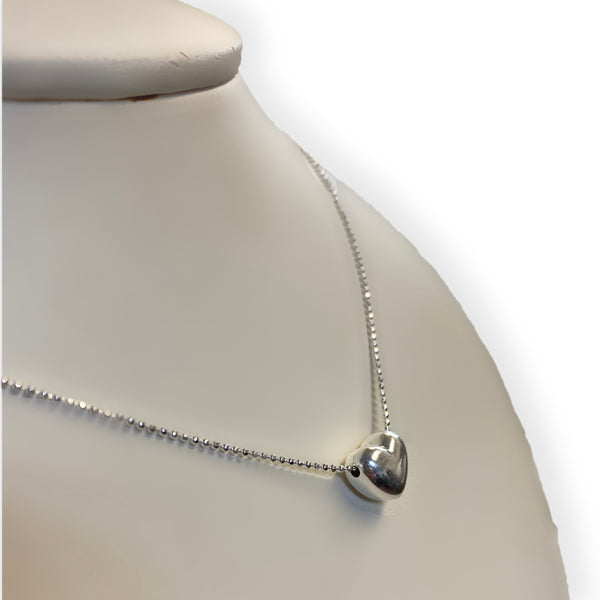 Italian Silver 3D Heart Pendant Necklace