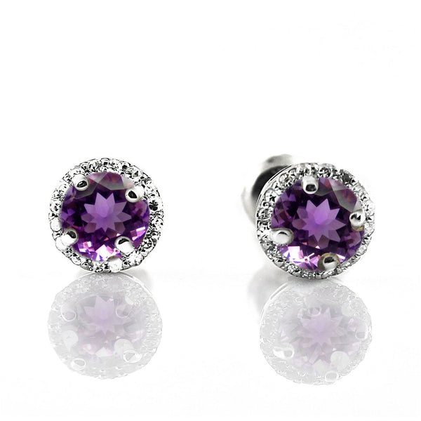 Diamond Halo Amethyst Stud Earrings in 18K White Gold Screw Back Butterflies - Thenetjeweler