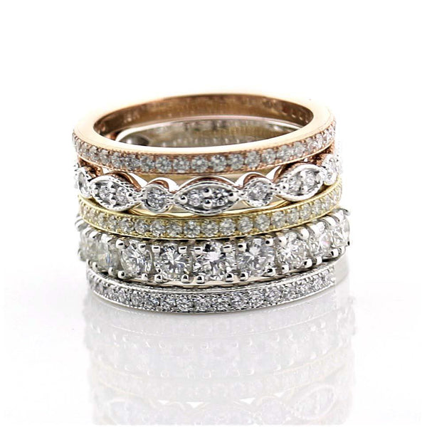 Diamond Stacked Anniversary Bands 18k Gold 1.74 cwt - Thenetjeweler by Importex