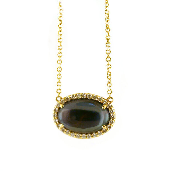 Tacori Golden Bay Pave Diamond and Oval Cabochon Necklace - Thenetjeweler