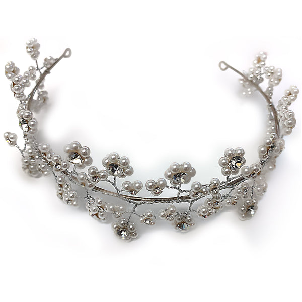 Tiara Pearl and Diamond Rhinestones Sterling Silver - Thenetjeweler