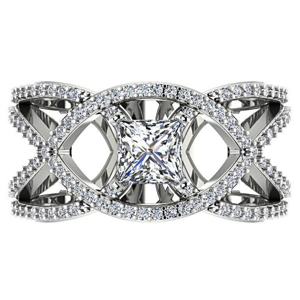 Princess Diamond with Twisted Design Band Ring 14K White Gold - Thenetjeweler