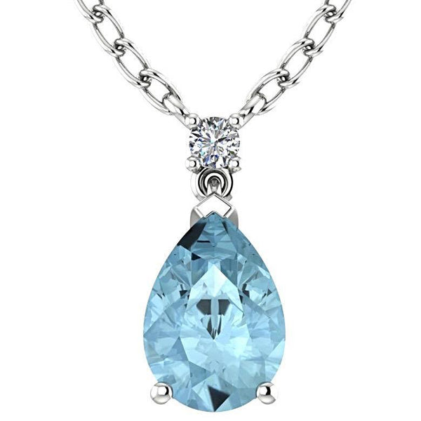 Blue Topaz Pear Shaped Pendant Diamond Necklace 14K White Gold - Thenetjeweler by Importex