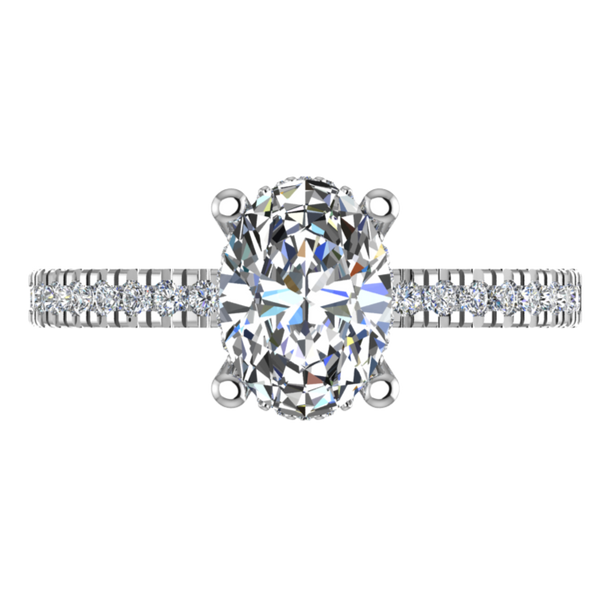 TOval Diamond Engagement Ring with Side Stones 0.26 CTW