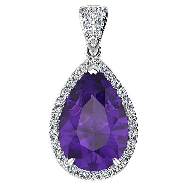Pear Shaped Amethyst and 0.35c Diamond Halo Pendant Necklace 14K White Gold - Thenetjeweler