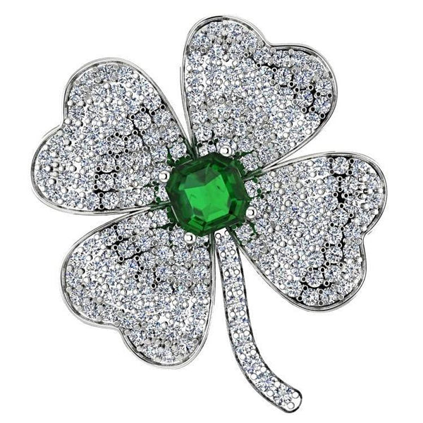 Clover Diamond Pendant with Emerald Stone 14K White Gold - Thenetjeweler by Importex