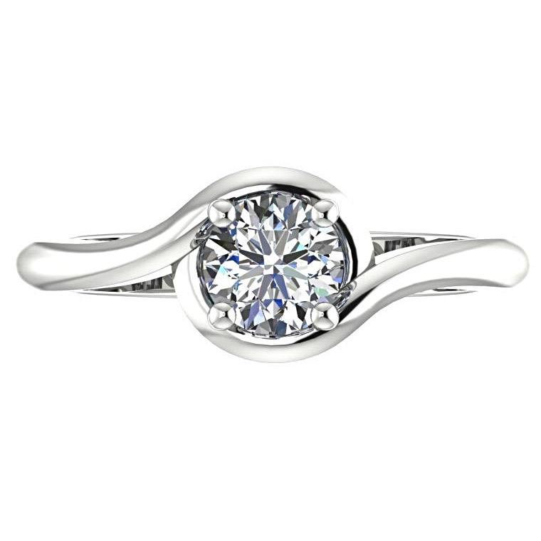 Solitaire Round Diamond Twist Band Engagement Ring 18K White Gold - Thenetjeweler