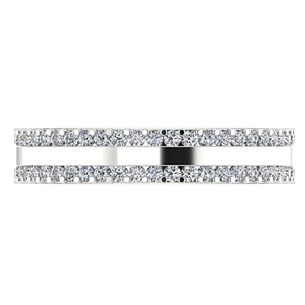 Three Row Diamond Eternity Ring Band 18K Gold (0.79 ct. tw.) - Thenetjeweler