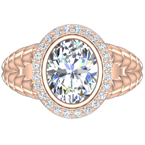 Pink Gold Diamond Ring Cable Coil Design Setting - Thenetjeweler