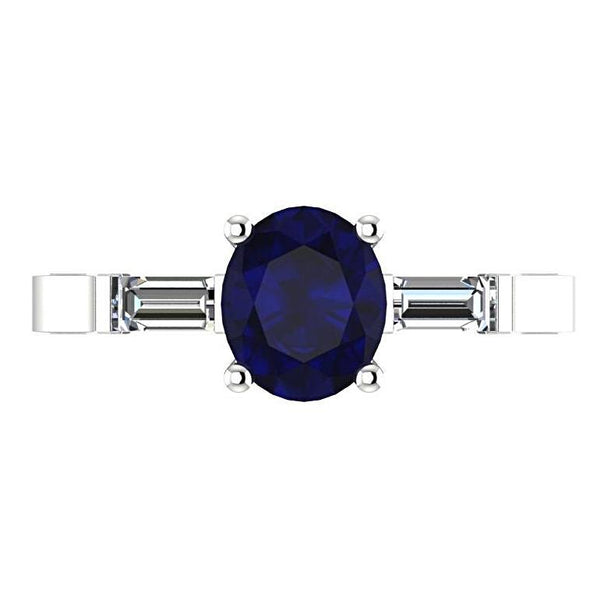 Oval Sapphire with Diamond Baguette Side Stones Ring 14K White Gold - Thenetjeweler