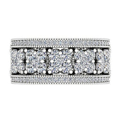 Flower Diamond Milgrain Ring with Side Detail 14K White Gold - Thenetjeweler