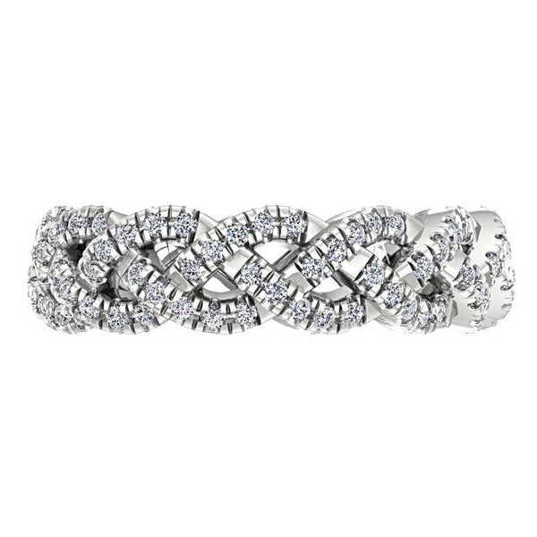 Diamond Twisted Band Ring Platinum - Thenetjeweler