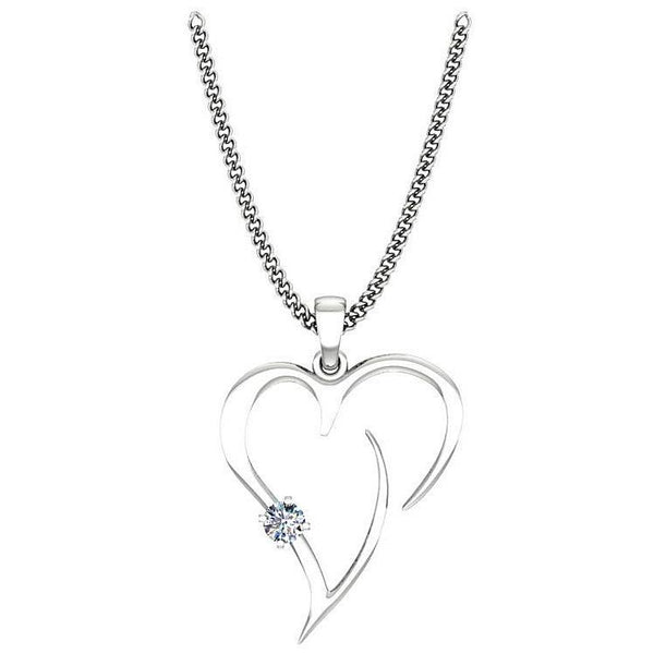 Heart Shaped Pendant Necklace with Diamond 14K White Gold - Thenetjeweler