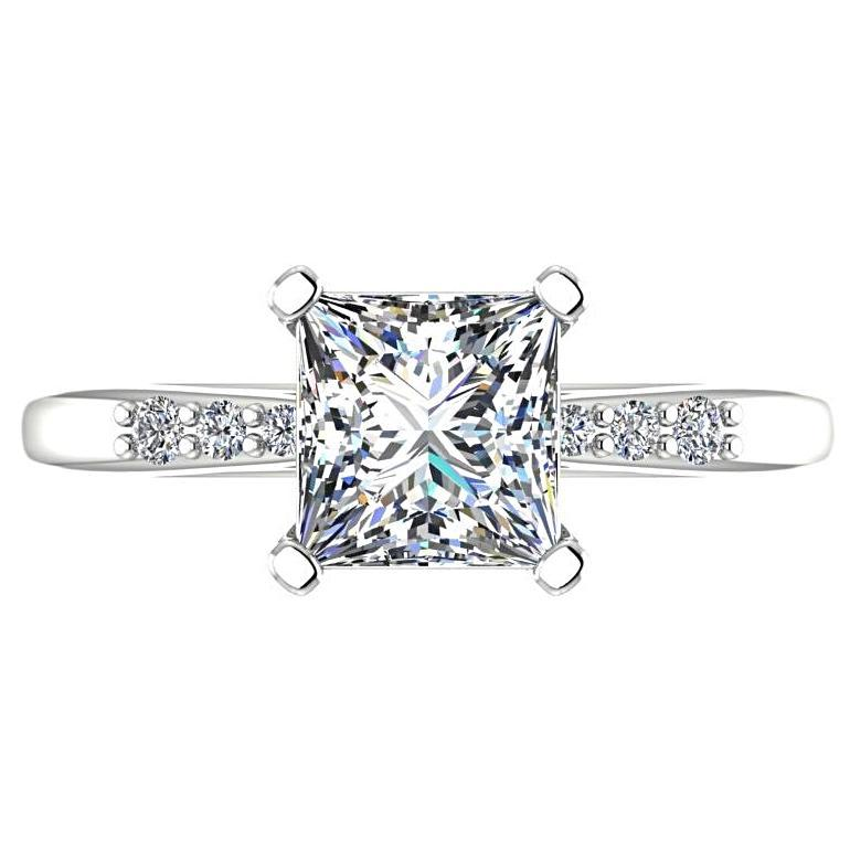 Princess Cut Diamond Engagement Ring with Side Stones 14K White Gold - Thenetjeweler
