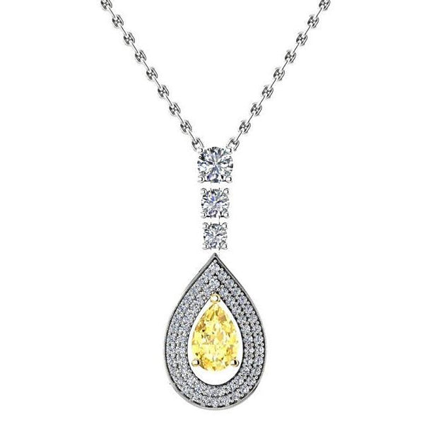 Pear Citrine Diamond Pendant Necklace 14K White Gold - Thenetjeweler