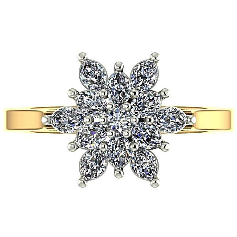 Flower Diamond Ring 18K Yellow Gold - Thenetjeweler
