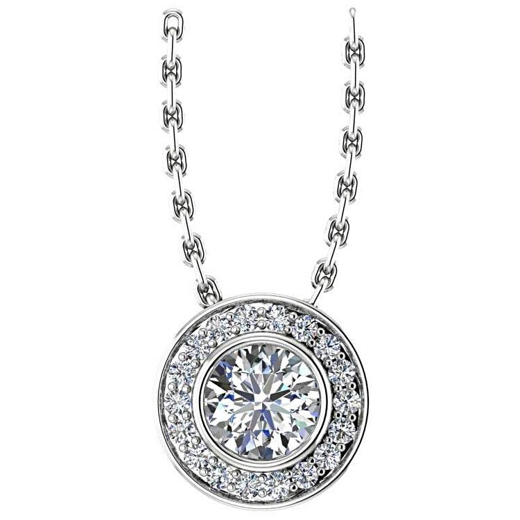 Round Diamond Halo Pendant Necklace Setting 14K White Gold - Thenetjeweler