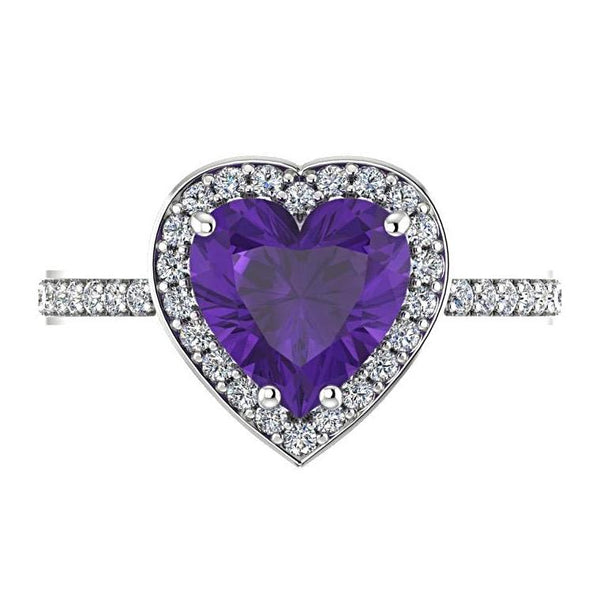 Heart Shaped Amethyst Halo Diamond Ring 14K White Gold - Thenetjeweler