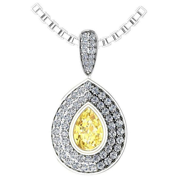 Pear Citrine Double Diamond Halo Pendant Necklace 14K White Gold - Thenetjeweler