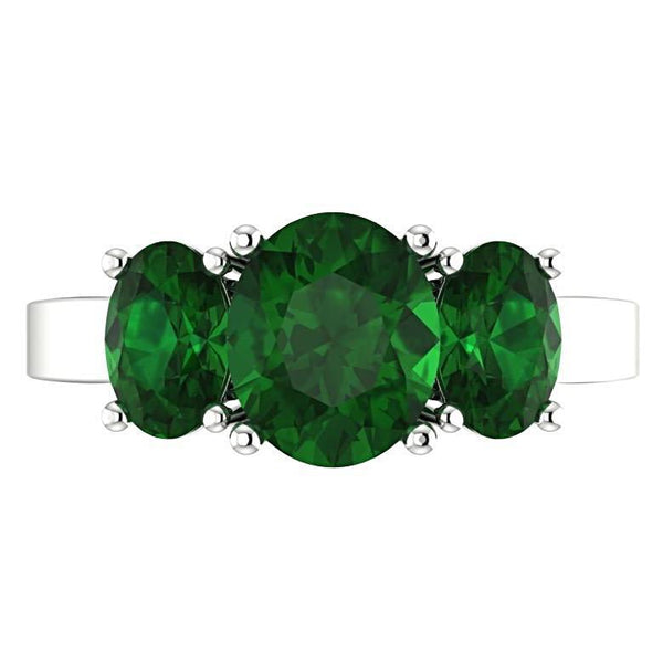 Emerald Three Stone Ring 14K White Gold - Thenetjeweler