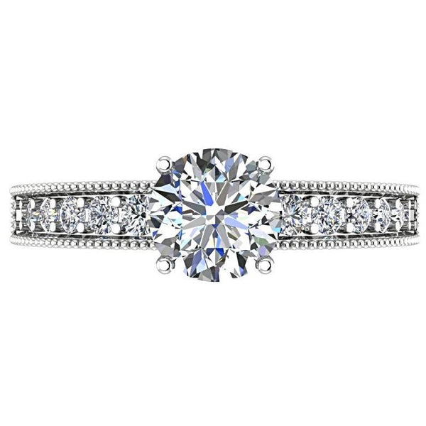 Diamond Milgrain Band Engagement Ring - Thenetjeweler