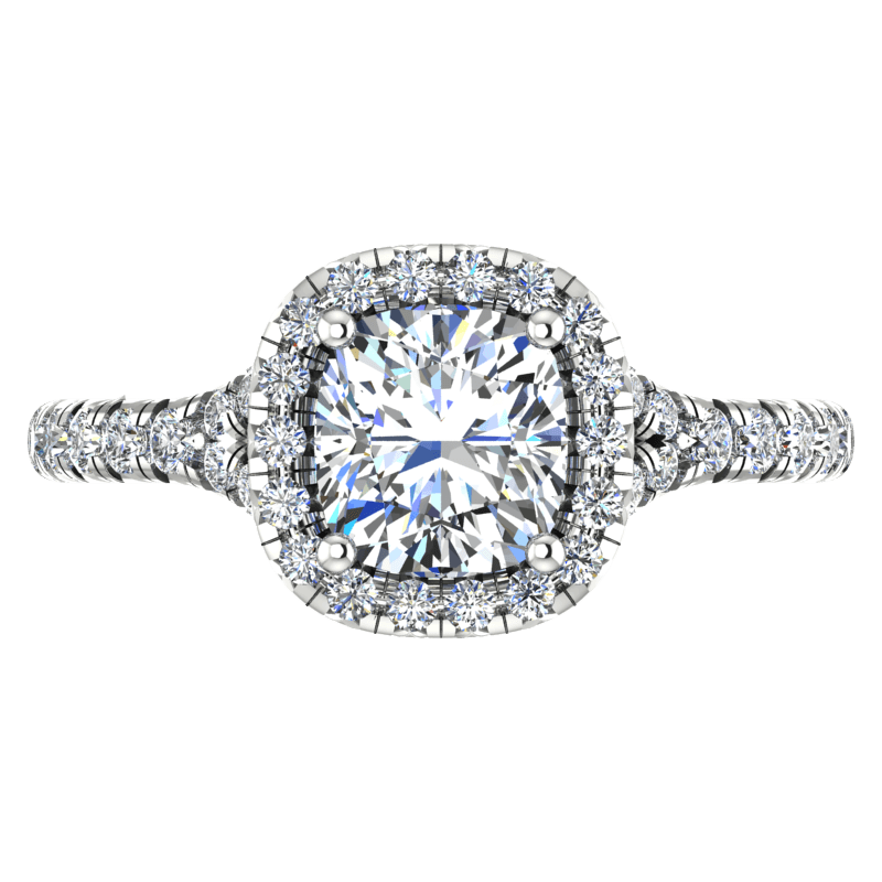 Cushion Cut Diamond Halo Engagement Ring With Side Stones