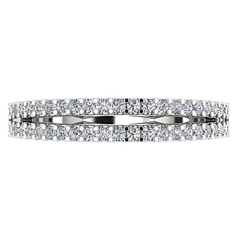 Diamond Split Shank Semi Eternity Ring Band 18K White Gold - Thenetjeweler