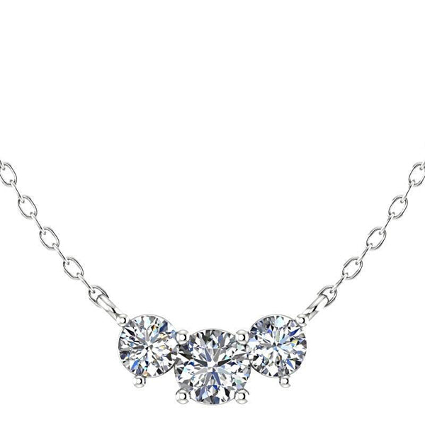 Three Stone Diamond Pendant Necklace 14K White Gold - Thenetjeweler