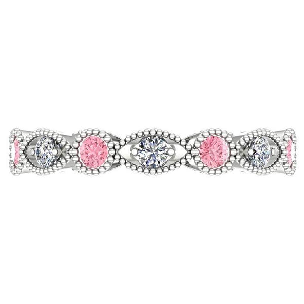 Pink Tourmaline and Diamond Milgrain Marquise and Dot Eternity Ring 14K White Gold - Thenetjeweler