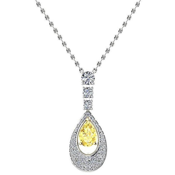 Pear Citrine Diamond Pendant Necklace 18K White Gold - Thenetjeweler