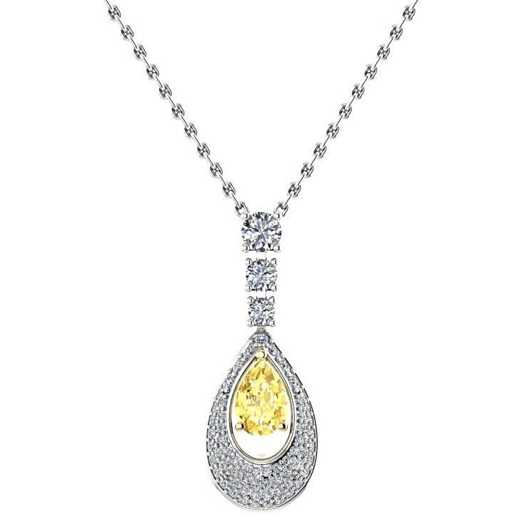 Pear Citrine Diamond Pendant Necklace 18K White Gold - Thenetjeweler by Importex