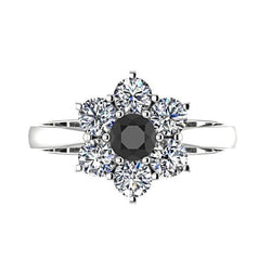 Flower Diamond Ring with Black Diamond 14K White Gold - Thenetjeweler by Importex