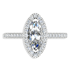 Marquise Cut Halo Diamond Engagement Ring 14K White Gold - Thenetjeweler