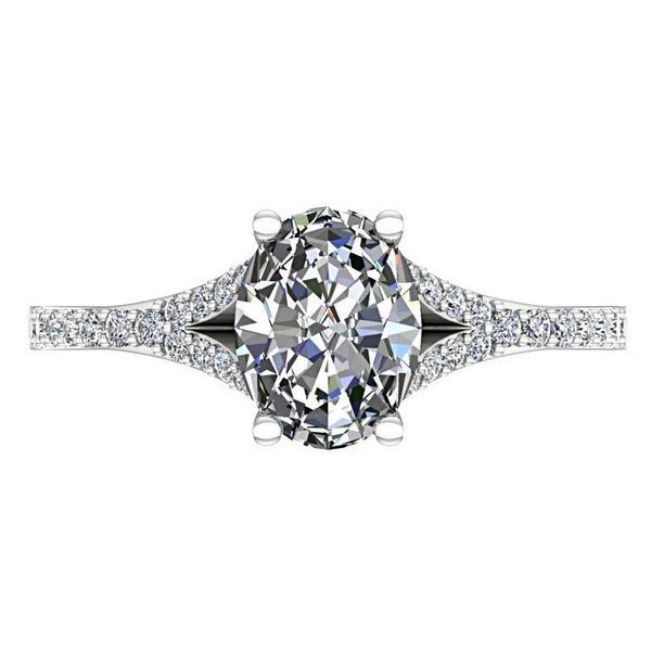Oval Diamond Split Shank Engagement Ring with Side Stones 18K White Gold - Thenetjeweler