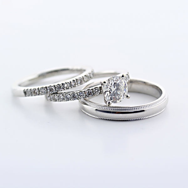 Trio Wedding Ring Set 14k White Gold - Thenetjeweler