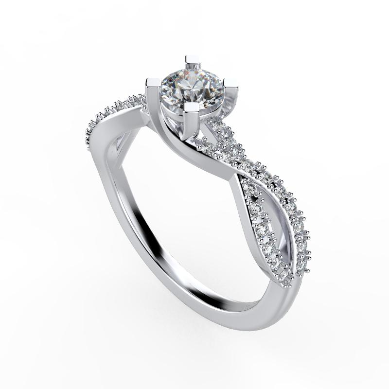 Diamond Split Shank Wave Design Engagement Ring - Thenetjeweler by Importex