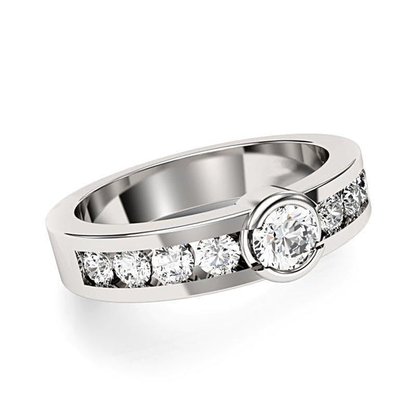 Round Center Bezel Channel Set Diamonds Band - Thenetjeweler