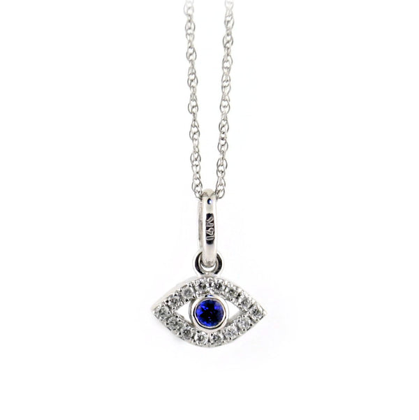 Diamond and Sapphire Evil Eye Pendant 14K White Gold - Thenetjeweler
