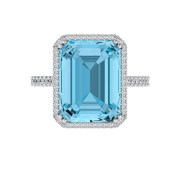 Emerald-Cut Blue Topaz Halo Ring - Thenetjeweler