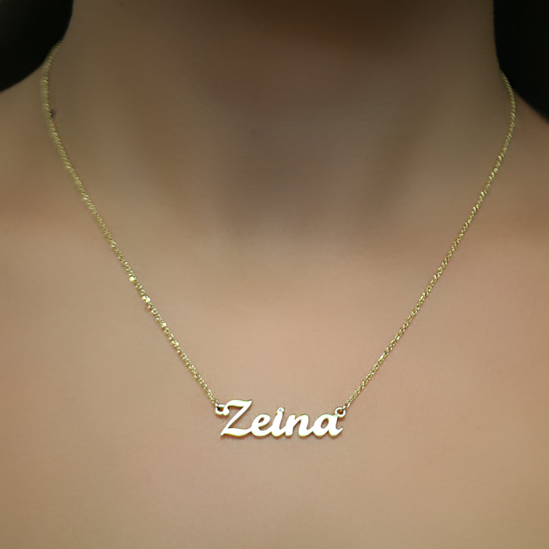 Name Necklace 14K gold ZEINA - Thenetjeweler