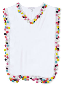 White Cover-Up Poncho with Multi-Colored Pom Poms