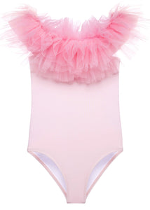 Pink Draped Swimsuit with Tulle