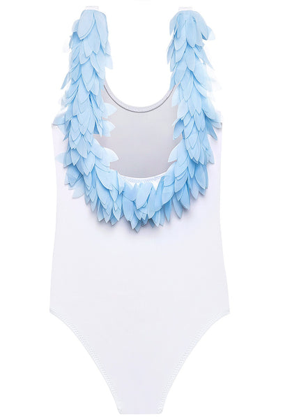 White Tank Swimsuit With Blue Chiffon Petals