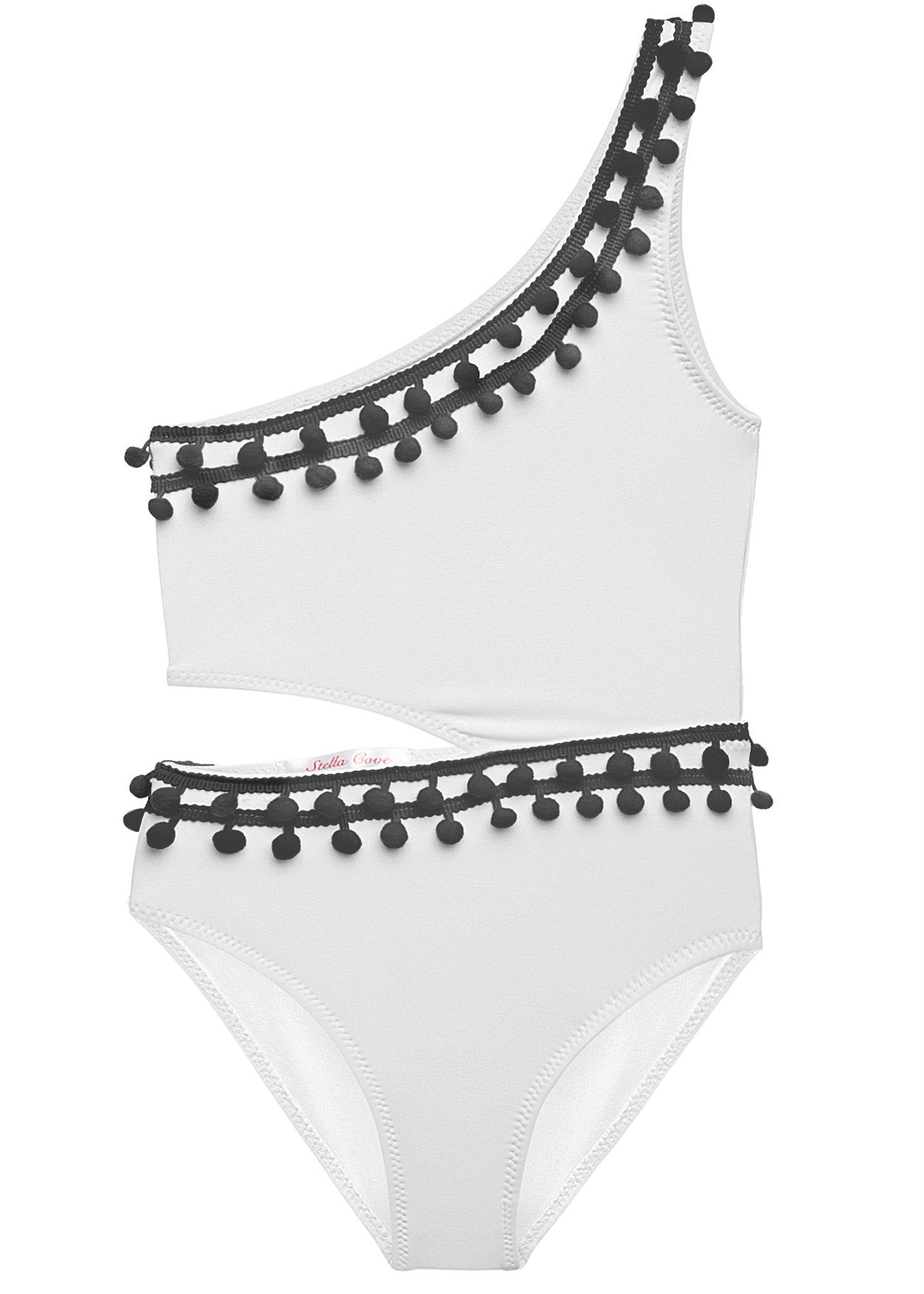 White Side-Cut Swimsuit with Black Pom Poms