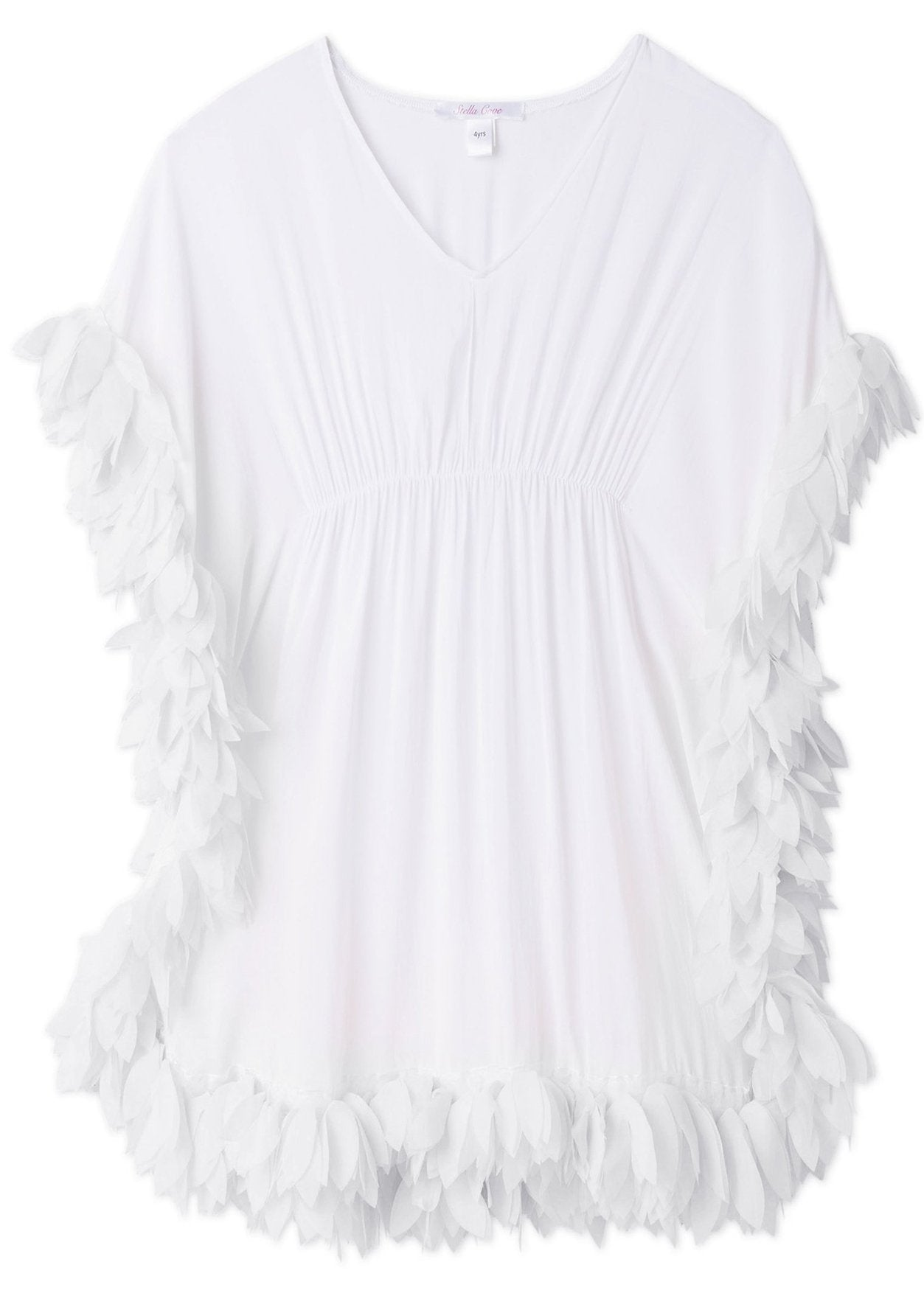 White Cover-up Poncho with White Petals