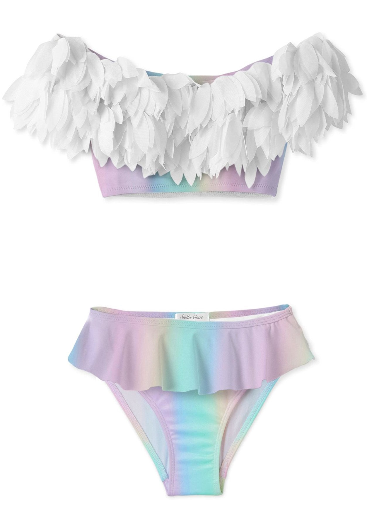 Rainbow Full Shoulder Bikini With White Petals