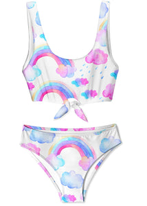 Rainbow and Cloud Tie Bikini for Girls